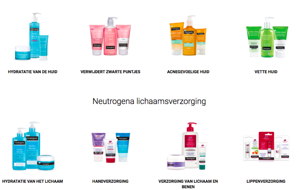 Screenshot Neutrogena producten