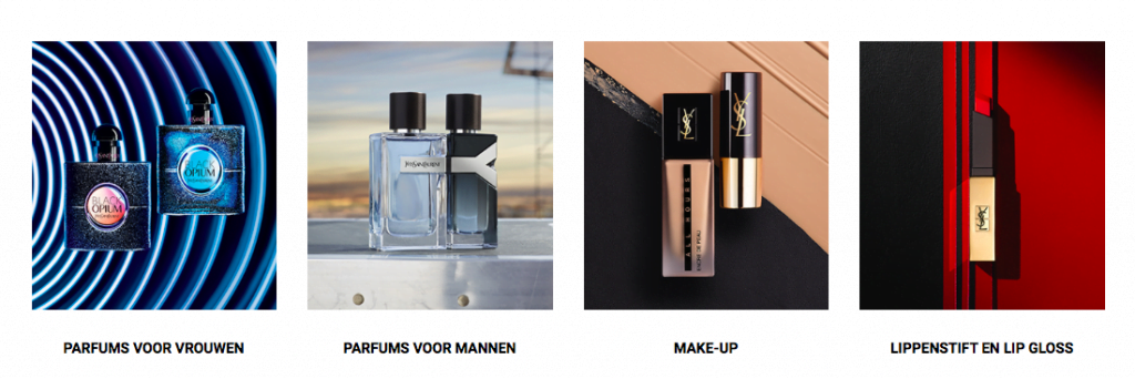 Screenshot Yves Saint Laurent producten